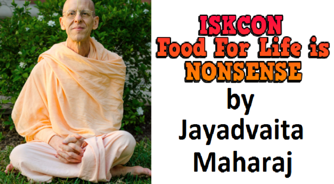 Food For Life is Against Prabhupada's Teachings