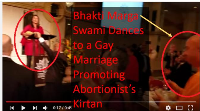 "Bhakti Marga Swami Happily Dances to a Gay Marriage Promoting Woman's ""Kirtan"""