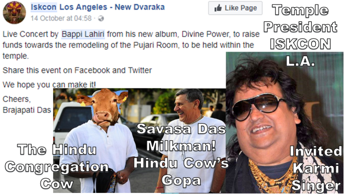 Hindu Congregation Appeaser Savasa Das Sells Iskcon's Soul (iskcon LA) Spineless Hosts Karmi Singer in Temple